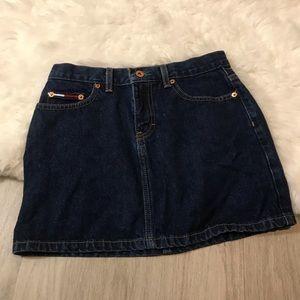 Tommy Jeans Dark Wash Big Logo Mini Skirt Size 3